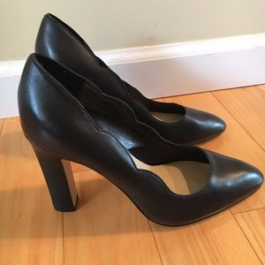 leather Saks fifth ave black pumps